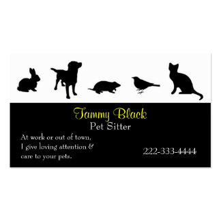 Black Animal Silhouettes Pet Care Business Card