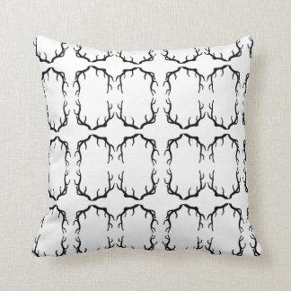 Black Antler Silhouette Throw Pillow