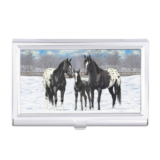 Black Appaloosa Horses In Snow Business Card Holders
