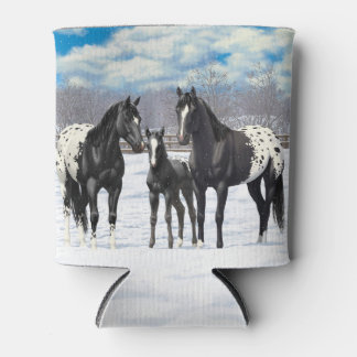 Black Appaloosa Horses In Snow Can Cooler