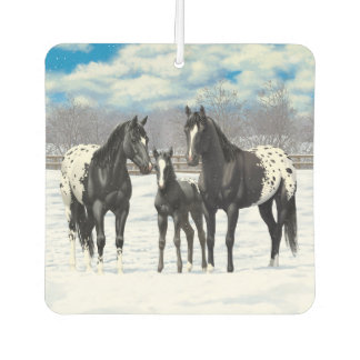 Black Appaloosa Horses In Snow Car Air Freshener