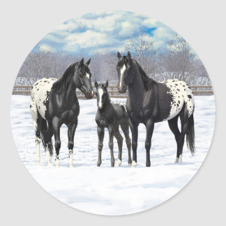 Black Appaloosa Horses In Snow Classic Round Sticker