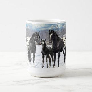 Black Appaloosa Horses In Snow Coffee Mug
