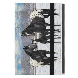 Black Appaloosa Horses In Snow Cover For iPad Mini