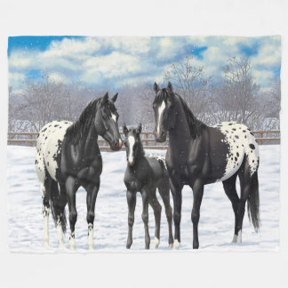 Black Appaloosa Horses In Snow Fleece Blanket