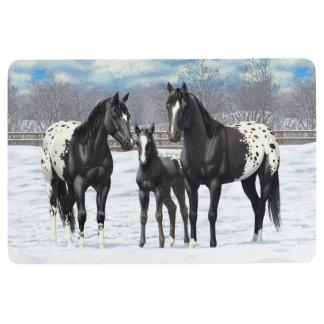 Black Appaloosa Horses In Snow Floor Mat