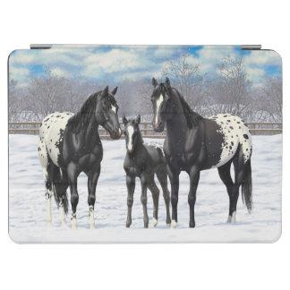 Black Appaloosa Horses In Snow iPad Air Cover