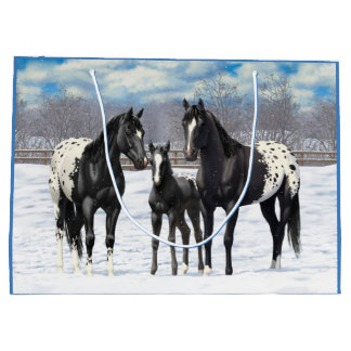 Black Appaloosa Horses In Snow Large Gift Bag