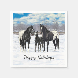 Black Appaloosa Horses In Snow Paper Napkins