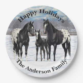 Black Appaloosa Horses In Snow Paper Plate