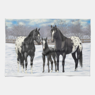 Black Appaloosa Horses In Snow Tea Towel