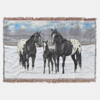 Black Appaloosa Horses In Snow Throw Blanket