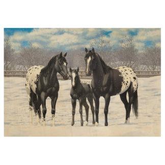 Black Appaloosa Horses In Snow Wood Poster