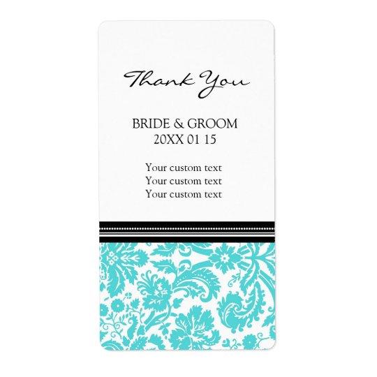 Black Aqua Damask Pattern Wedding Labels