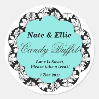 Black & Aqua Scallop Damask Candy Buffet Sticker