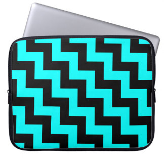 Black & Aqua Stair Step Pattern, Diagonal Zigzags Laptop Sleeve