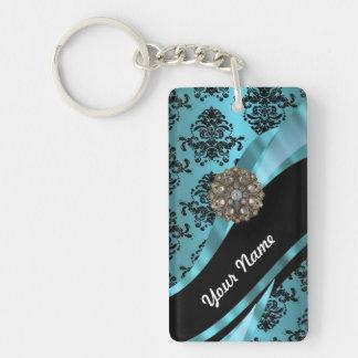 Black & aquamarine damask key ring
