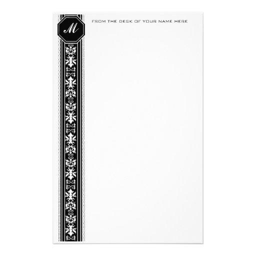 Black Arabesque Monogram Stationery