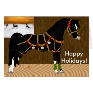 Black Arabian Horse Christmas Card