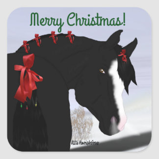 Black Arabian Horse Christmas Square Sticker