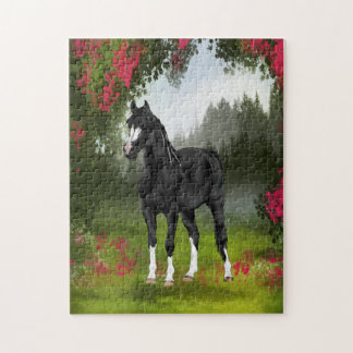 Black Arabian Horse in Spring Meadow Jigsaw Puzzle