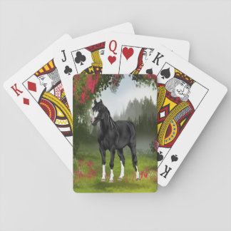 Black Arabian Horse in Spring Meadow Playing Cards