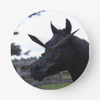 Black Arabian Stallion Clock