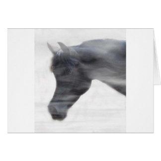 Black Arabian Stallion in the Fog Greeting Card