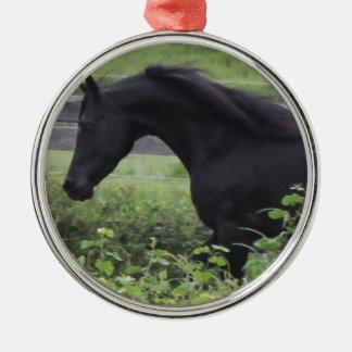 Black Arabian Stallion Silver-Colored Round Decoration