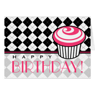 Black Argyle  Birthday Card with Pink Cupcake