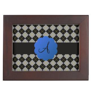 Black argyle blue scallop monogram keepsake boxes