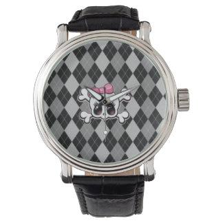 Black argyle lady skull watch