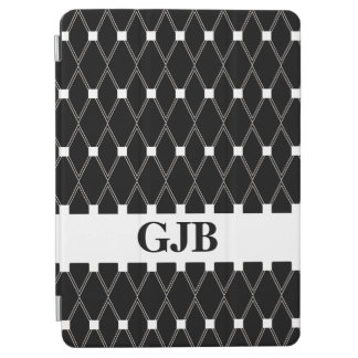 Black Argyle Lattice with monogram iPad Air Cover