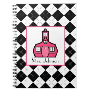 Black Argyle & Pink Teacher Notebook