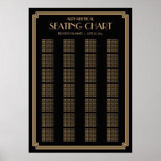Black Art Deco Alphabetical Wedding Seating Chart Poster