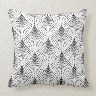 Black Art-deco Geometric pattern On White Cushion
