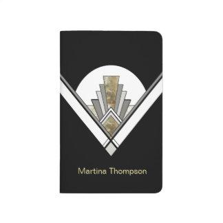 Black Art Deco Geometric with Custom Name Journal