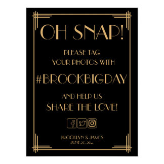Black Art Deco Gold Gatsby Hashtag Sign 18x24 Poster
