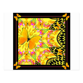 Black Art Deco Golden butterflies Art Postcard