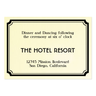 Black art deco retro wedding reception enclosure pack of chubby business cards