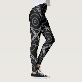 Black art print leggings