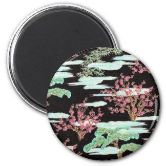 Black Asian Cherry Blossom Print 6 Cm Round Magnet