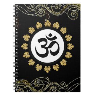 Black Aum Om Symbol Gold Flourish & Trim Spiral Notebook