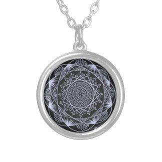 Black, Awakening zen pattern, healing, chakra Silver Plated Necklace