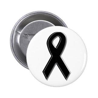 Black Awareness Ribbon 6 Cm Round Badge