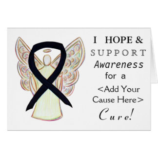 Black Awareness Ribbon Custom Cause Angel Cards