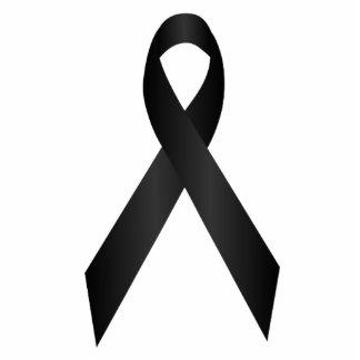 Black Awareness Ribbon Pin Photo Sculpture Badge