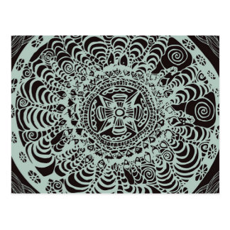 Black Aztec Mandala Postcard
