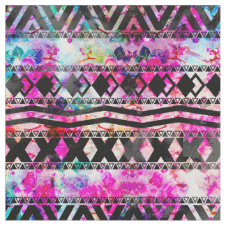 Black Aztec Pattern Neon Floral Nebula Fabric