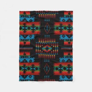 BLACK Aztec Print Fleece Blanket